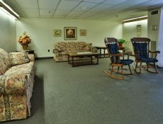 A common sitting area/lobby in the Valley Pike Manor apartments